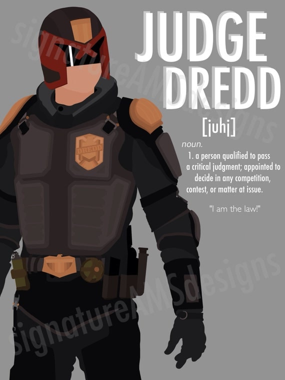 Minimalist Digital Artwork of MOVIE & VIDEO GAME Character - Judge Dredd ( 11.7x16.5 inches / A3 )