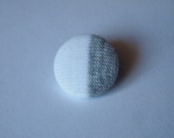 Reduce, reuse, recycle gray and white fabric covered buttons (size 60, 40, 32, 20, or 18)
