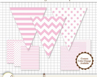 Printable Pennant & Paper Set - Light Pink Pennant 3 Designs - 4 Sizes Each. 6 Papers. Stripe, Chevron and Polka Dot
