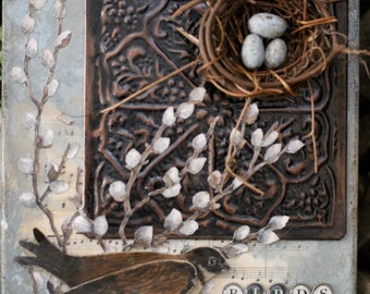 Mixed Media on Canvas-Bird and Nest-OOAK