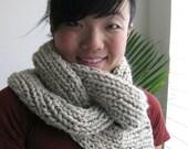 PATTERN for Chunky Knit Cowl - Braided Asymmetric Circle Scarf Neckwarmer