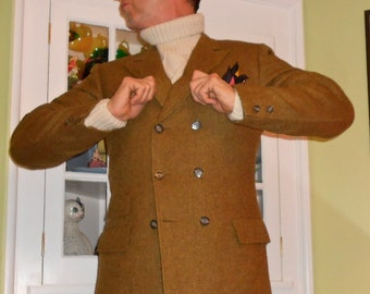 Vintage 1960's Mans Double Breasted Blazer Lord Jim 1960's Gold Six Button Ticket Pocket Blazer