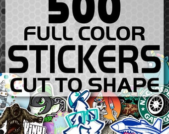 500 Custom Vinyl Stickers - Promotional Stickers - Choose your shape - Laminated Stickers - Not Paper Stickers