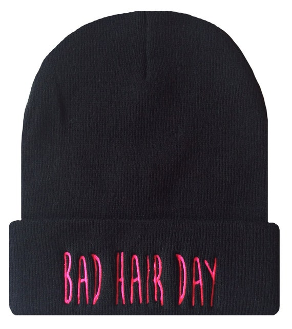 BAD HAIR DAY Cuffed Beanie Hat Hip Hip Dope Beanies Cap Black