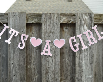 It's a girl Banner, Baby shower banner, Gender reveal banner, baby girl banner
