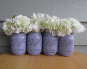 Painted and Distressed Ball Mason Jars- Pale/Pastel Purple -Set of 4-Flower Vases, Rustic Wedding, Centerpieces