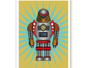 HIRO  Retro Robot Print - Personalized name poster art print