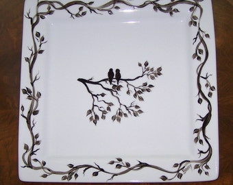 Serving Set with Silhouette Love Birds