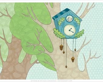 Cuckoo Clock ART PRINT - botanical giclee print - black forest cuckoo clock print - art print - boygirlparty - woodland art