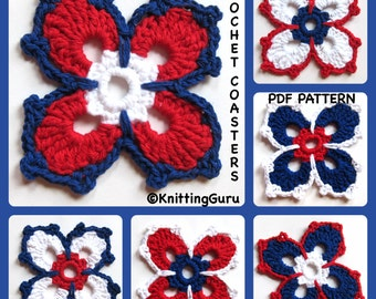 4th of July Crochet Coaster Pattern -  Fast and Easy Instant Download PDF - Patriotic Holidays