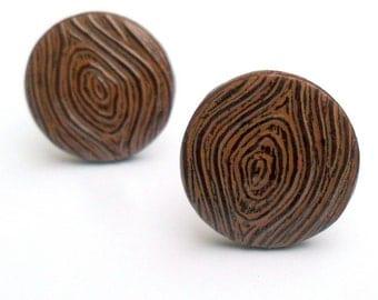 Chocolate Brown Wood Grain Faux Bois Cufflinks  - Woodland Wedding