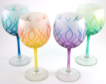 Strands Wine Glasses - Frosted and Painted Glassware - Custom Glass Stemware