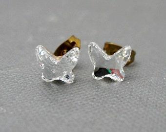 Clear Crystal Butterflies Stud Earrings // Swarovski Crystal Butterflies // Rhodium Posts