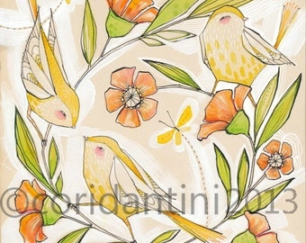 whimsical watercolor painting of yellow birds - 8 x 8  - limited edition and archival print by cori dantini