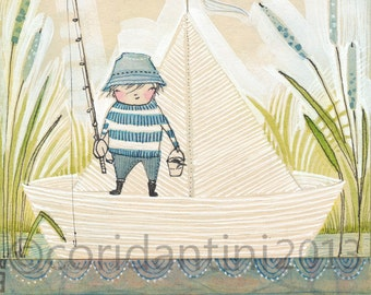 "Cori Dantini Boys Art Print - ""8 x 10"" Fishing Art Print - Boys Nursery Baby Room Decorating Ideas Archival and Limited edition"