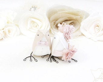 Luxury Wedding Cake Topper Cream and Vintage Pink LoveBirds