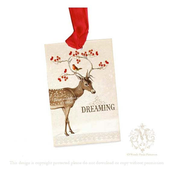 Deer, Christmas gift tags, Dreaming, Reindeer, antlers decorated with red berries, robin, White Christmas, holiday gift tags, gift wrap,