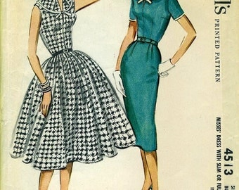 McCall's 4513 Slim or Full Skirt 1950s Dress Turnover Collar Size 14 Bust 34 circa 1958