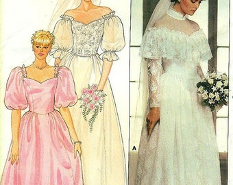 Butterick 6393 Bridal Gowns - Off the Shoulder, Princess Lines - Good for Bridesmaid - Perhaps a Prom