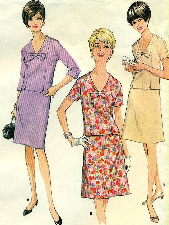 McCall's 8354 Two Piece circa 1966  - Slim or A Line Skirt - Half Sizes