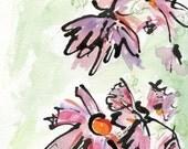 Watercolour painting  Cosmos blossoms / Cosmos bipinnatus //  watermedia painting / wall art / ooak / original