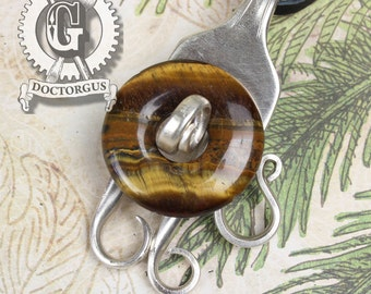Tiger Eye Stone Fork Pendant - Handmade by Doctorgus from Recycled Antique Silverware - Sterling Silver Plated Fork Jewelry - Steampunk Boho