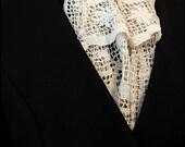 Sinister Elegance - Ivory Lace Havisham Jabot by Kambriel - One of a Kind made with Antique Handmade Lace & Black Neckband