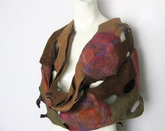 Felted Infinity Scarf Multicolor Brown Olive Green Purple Burgundy Pink Floral