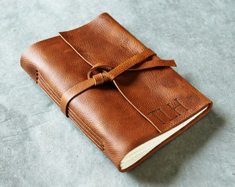 Brandy 5x7 - Initials Optional - Leather Journal or Sketchbook - Personalized