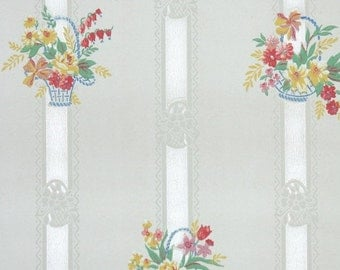 1930s Vintage Wallpaper by the Yard - Floral Wallpaper with Colorful Baskets of Flowers on White Stripe