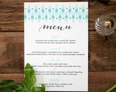 Aqua Ikat Wedding / Event / Party Menu - Deposit