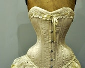 Ivory Wedding Dress- Silk corset and bustle skirt, Victorian Weddings