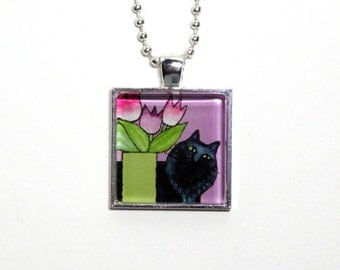 Black Cat Jewelry/ Persian Kitty Necklace with Tulips by Susan Faye