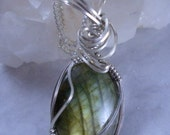 Firey Gold Green Flash  Labradorite  in Sterling Silver Wire Wrap Pendant Necklace