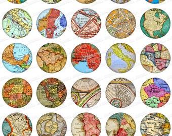 "MINI MAPS - Digital Collage Sheet - Vintage Maps of Italy, France, United Kingdom, Scandinavia, Eastern Europe & More, 1"" Circles 25 mm"