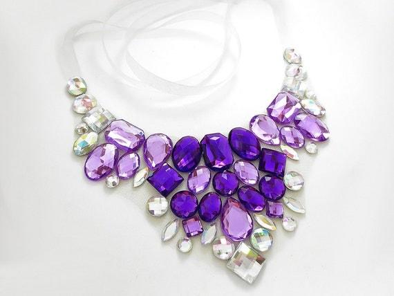 Purple Bib Necklace, Clear AB, Rhinestone Bib, Statement Necklace, Aurora Borealis, Bridesmaid Jewelry