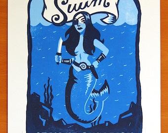 """Swim at Your Own Risk - Menacing Mermaid 11""""x14"""" linocut print"""