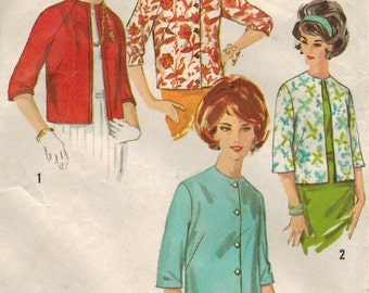 1960s Simplicity 4848 Vintage Sewing Pattern Misses Box Jackets Size 12 Bust 32