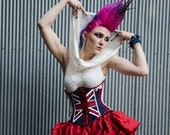 Union Jack Corset Deconstructed Grunge Punk Style- Custom to Order