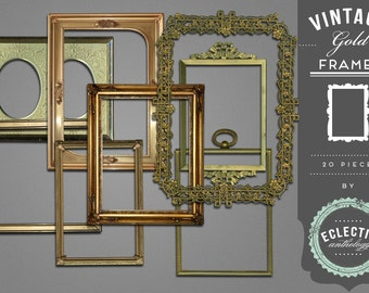 INSTANT DOWNLOAD - Vintage Gold Frames Royalty Free Graphics, Print, Web, Scrapbook, Design, Personal and Commercial Use