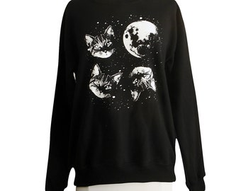 Cat Sweatshirt - Three Cat Moon Sweater - Unisex Sizes S, M, L, XL