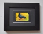 Art Oil Painting New York City Pigeon Bird on Recycled NYC Subway Card