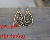 Druzy hematite earrings - rich color