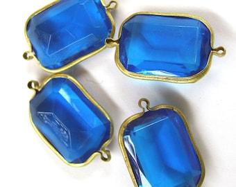 Vintage Lucite Blue Rectangle Connectors Channels 6