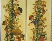 Children's Wall Art, Set of 2 Edwardian-Style Wall Hangings, Ready to Hang, Light Yellow with Decoupage Children Playing on a Flowering Vine