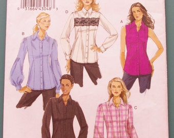 SALE VOGUE V8598 Semi Fitted Shirt Sewing Pattern Misses Size 16 Bust UNCUT