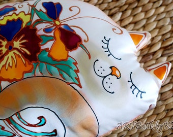 "Decorative Silk Accent Pillow. ""Sleeping Cat"". Unique & Cute Gifts for Cat-lovers. Overall Handmade. ART-Batik. Nice Gift for Mother's Day."
