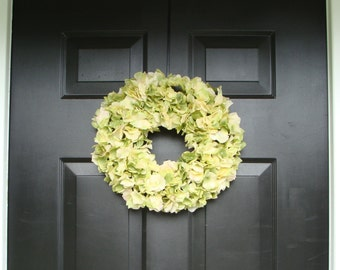 Fall Silk Spring Wreath 14 inch- Outdoor Hydrangea Wreath- Hydrangeas- Home Wreath Decor- Wall Art- Door Wreaths