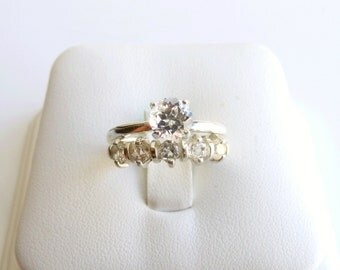 Wedding Ring Set White Topaz Sterling Silver Made To Order