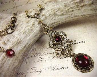 Red Pendant Necklace, Garnet Renaissance Jewelry, Medieval Necklace, Ren Faire Garb, Borgias, Tudor Costume, Princess Wedding, SCA, Avalon